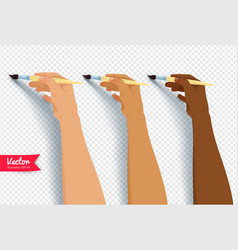 hands painting with brush vector image