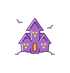 Haunted house colorful flat halloween icon vector