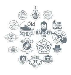 hipster logo vintage icons set simple style vector image