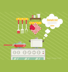 Interior of kitchen pans on the stove cooking in vector