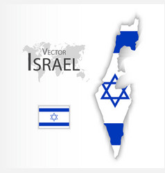 Israel flag and map vector
