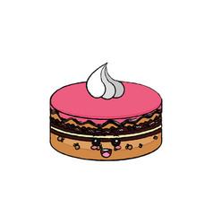 Kawaii cake icon vector