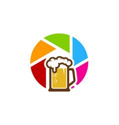Lens beer logo icon design vector