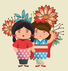 little japanese couple girls kawaii with flowers vector image