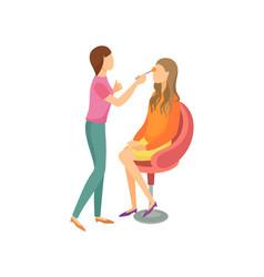 Makeup procedure in beauty salon cartoon banner vector