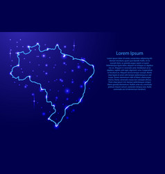 Map brazil from the contours network blue vector