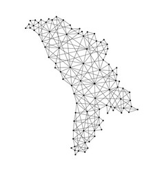 Map of moldova from polygonal black lines and dots vector