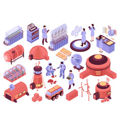 mars colonization icons collection vector image