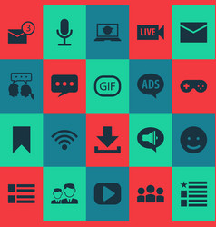 media icons set with feed microphone message and vector image