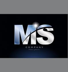 Metal blue alphabet letter ms m s logo company vector