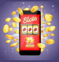 mobile slots poster banner design template vector image