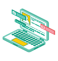 modern isometric laptop computer isolated outline vector image
