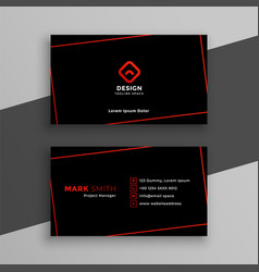 Modern red and black business card template vector