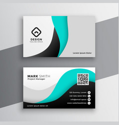 modern wavy turquoise business card design vector image