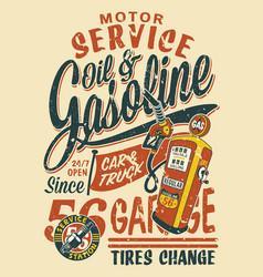 Motor service vintage gasoline station vector