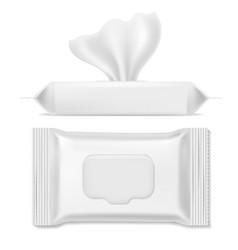 Napkin pack antibacterial packs wet wipes vector