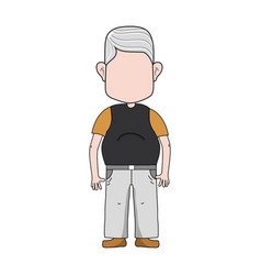 Old man with hairstyle and casual clothes vector