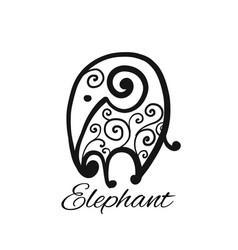 ornate elephant sketch for your design vector image
