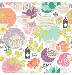 Pastel vintage garden tea party seaml stock vector