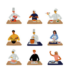 people cooking in kitchen set professional vector image