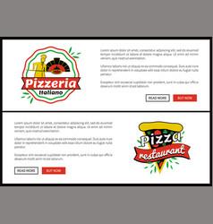 pizza restaurant internet web promo pages set vector image