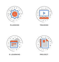 planning training e-learning project set of 4 vector image