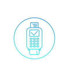 Pos terminal completed payment line icon vector