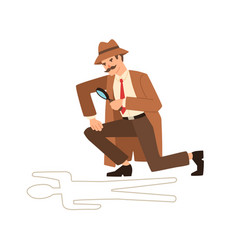 Private detective look through magnifying glass at vector