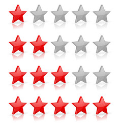 red stars rating levels vector image