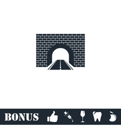 Road tunnel icon flat vector
