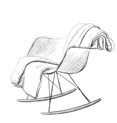 Rocking chair sketch style vector image