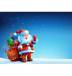 Santa Claus in the snow with a bag of gifts vector image