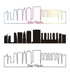 Sao Paulo V2 skyline linear style with rainbow vector