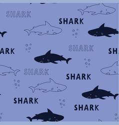 Seamless pattern cute sharks isolated animal vector