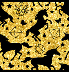 Seamless pattern with unicorns and gold glitter vector