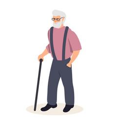 senior man with cane flat vector image