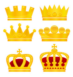 set gold crowns on white background vector image