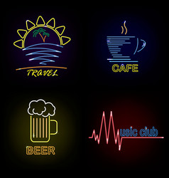 set neon sign theme summer bright signboard vector image