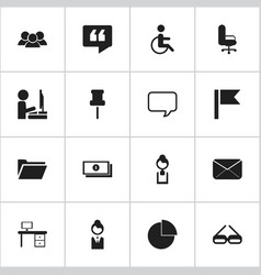 Set of 16 editable office icons includes symbols vector