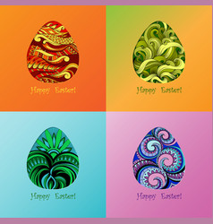 set of card of easter with graphic egg vector image