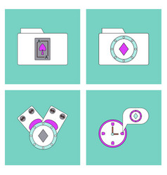 Set of casino gamble icons on backgrounds vector