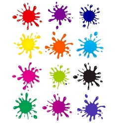 set of colored blots on the white background vector image