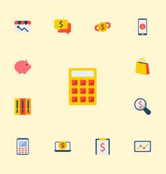 set of economy icons flat style symbols with money vector image