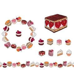 Set with different kinds of dessert Round frame vector image