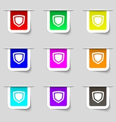 shield icon sign Set of multicolored modern labels vector image