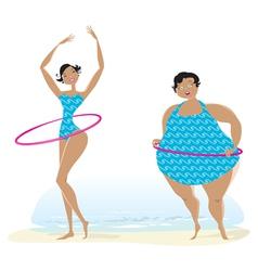 Slim anf big girls making exercises vector