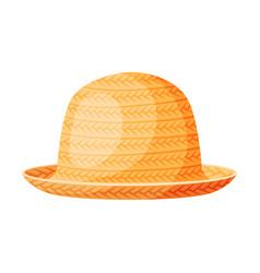 straw hat fashion headdress sun protection vector image