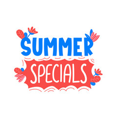 Summer specials ad text on white vector