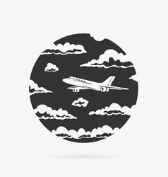 symbol passenger airplane in clouds vector image
