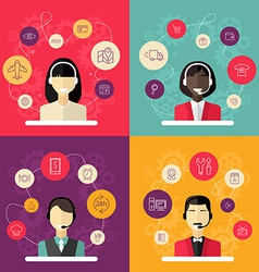 Technical support banners set assistant woman vector